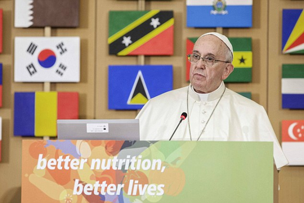 Francis warns greed of man will 'destroy the world' Pope says earth will not forgive abuse of its resources for profit and urges world leaders to help the hungry