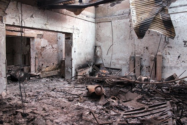 "<span class='image-component__caption' itemprop=""caption"">In this Oct. 16 photo, the charred remains of the Doctors Without Borders hospital is seen after being hit by a U.S. airstrike in Kunduz, Afghanistan.</span>"