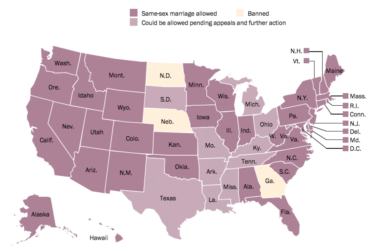 Which states legal same sex marriage