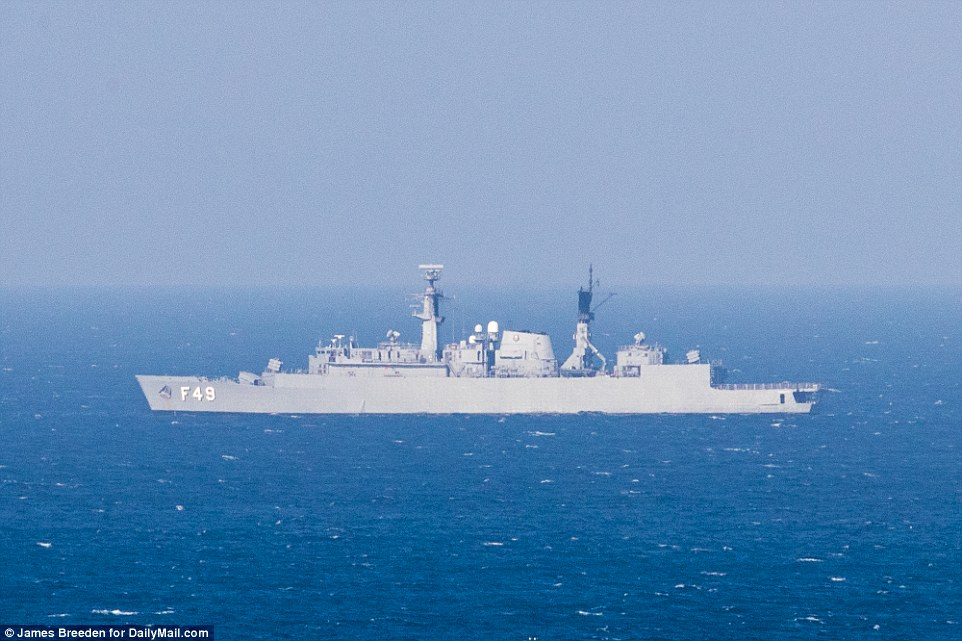 Leading the fleet: Frigate Rademaker is the most powerful of the Brazilian navy ships stationed on patrol off the Copacabana beach