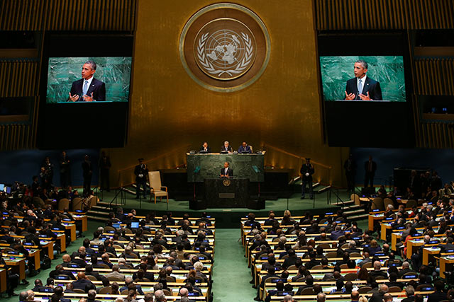 President Barack Obama delivers an address on the opening day of the United Nations General Assembly, Sept. 28, 2015. (Photo: Damon Winter / The New York Times)